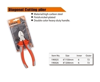 """Picture of 190026 Finder diagnal cutting plier(200mm/8"""")/1*72"""