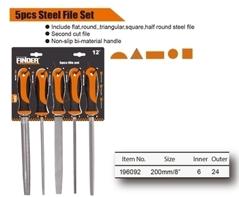 Picture of 196092 Finder 5pcs steel file set 8''/1*24