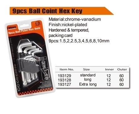 Picture of 193128 Finder 9pcs ball coint key set(long)/1*60