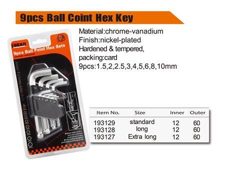 Picture of 193127 9pcs ball coint key set(extra long)/1*60